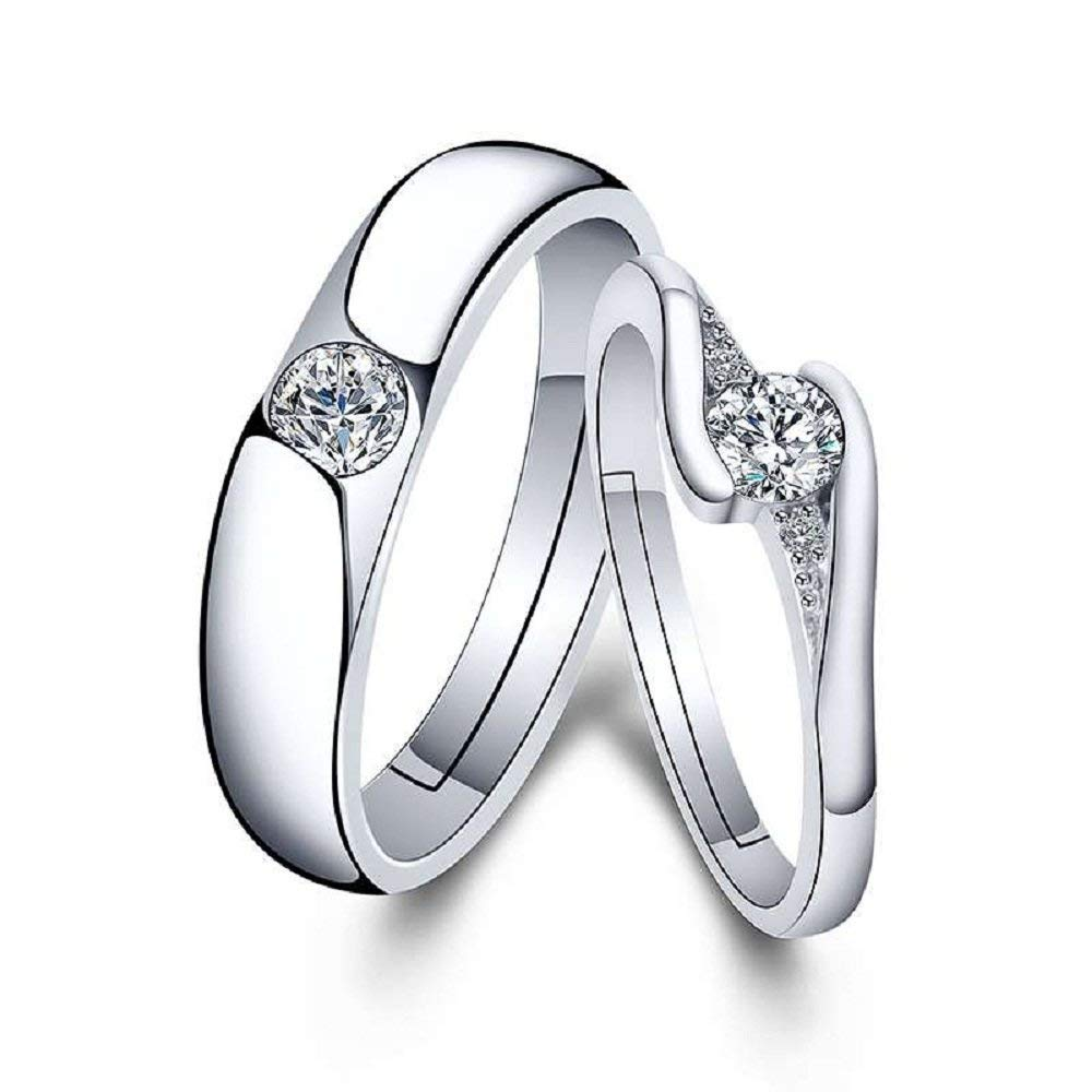 1bff529309 Amazon.com: CHuir Fashion Couple Rings for Him and Her, Adjustable Celtic  Knot Heart Promise Ring Set (CZrings): Jewelry
