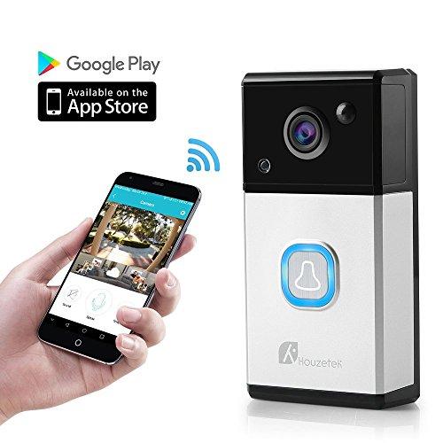 WiFi Video Doorbell, [2019 Upgrade] Wireless Smart Doorbell Camera Waterproof HD WiFi Security Camera 720P HD Security Camera with Two-Way Talk &Video (Black+White)
