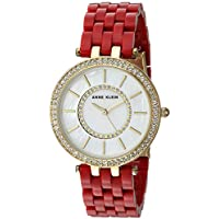 Anne Klein Women's Quartz Metal and Resin Dress Watch, Color:Red (Model: AK/2620RDGB)