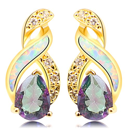 Sinlifu Rainbow Mystic Topaz Earrings With Fire Blue White Opal Design (Golden White Opal) (Mystic Towel Ring)