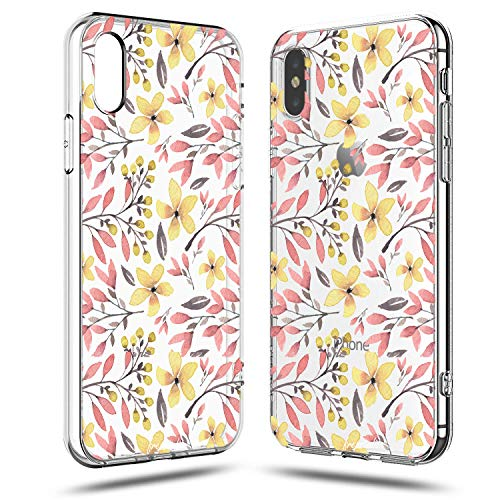iPhone X Case,Flowers Pink Plants Leaves Succulents Cactus Yellow Daisy Cute Floral Tender Paris Collection Girly Garden Paint Case for Girls Clear Soft Protective Case Compatible for iPhone -