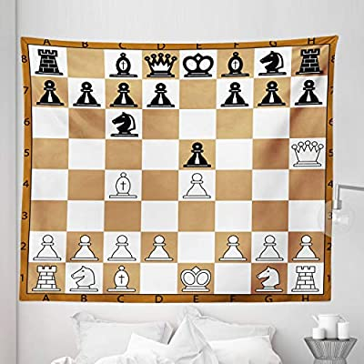 Brown Pale Brown Black Opening Position on Chessboard Letters Numbers Squares Pieces Print 104 W X 88 L Inches Wall Hanging Bedspread Bed Cover Wall Decor Lunarable Board Game Tapestry King Size