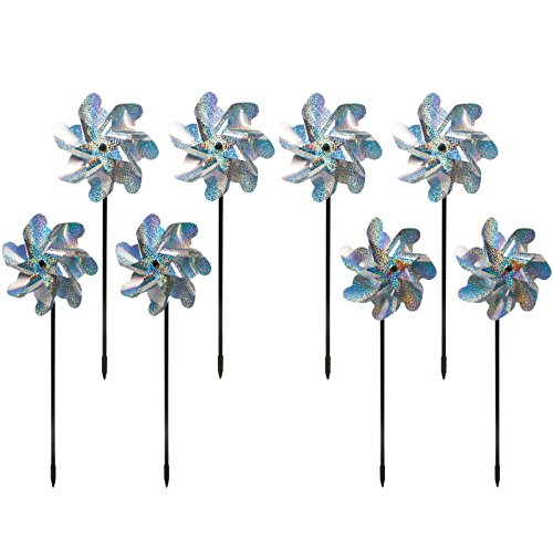 Bird Blinder Repellent PinWheels - Sparkly Holographic Pin Wheel Spinners Scare Off Birds and Pests (Set of 8)