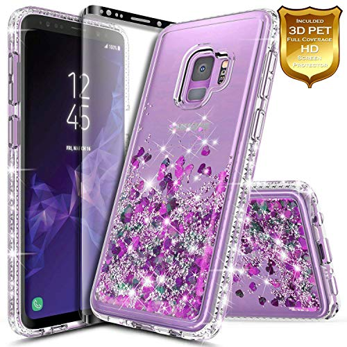 Galaxy S9 Plus Case w/[Full Cover Screen Protector Premium Clear], NageBee Glitter Liquid Quicksand Waterfall Flowing Sparkle Bling Diamond Cute Case Designed for Samsung Galaxy S9 Plus -Purple