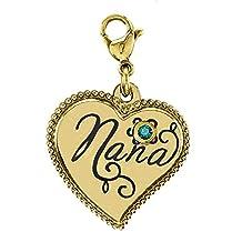 Esty & Me Stainless Steel Nana Dangle Heart Charm w/Swarovski Birthstone