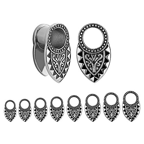 TBOSEN 2pcs Silver & Black Tribal Ear Tunnels Aztec Plugs Stainless Steel Gauges Earrings Piercings