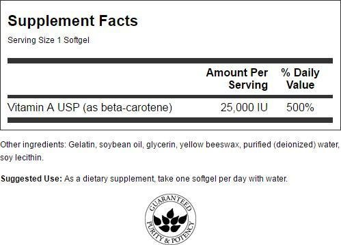 Swanson Beta Carotene (Vitamin A) 25,000 Iu (7,500 mcg) 300 Sgels