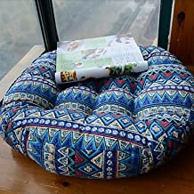 Modern Style Linen and Cottern Round Blue Floral Chair Pad