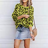 Zalanala Womens O-Neck Leopard Print Long Sleeve