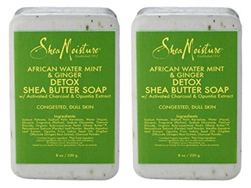 Ginger Mint Body - Shea Moisture African Water Mint & Ginger Detox Butter Soap Bar for Unisex, 8 Ounce (2 Pack)