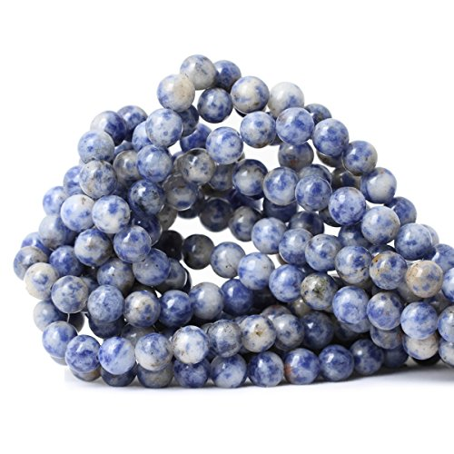 CHEAVIAN 45PCS 8mm Natural Blue White Sodalite Gemstone Round Loose Beads for Jewelry Making 1 Strand 15