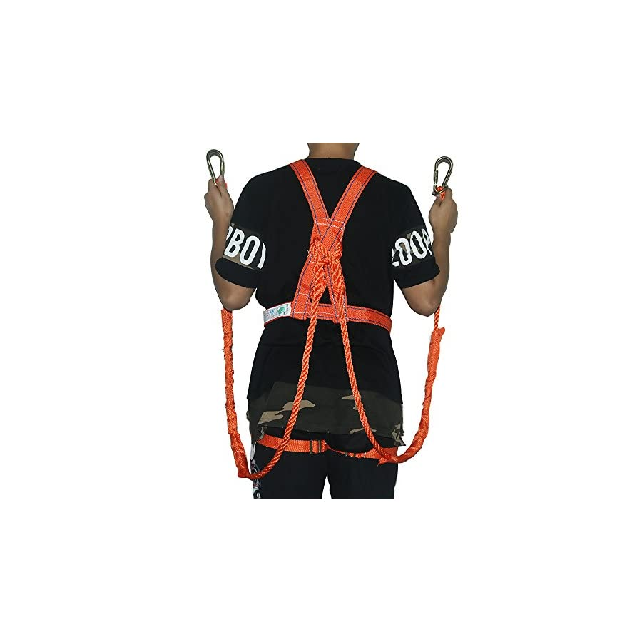 YIZRIO Fall Protection Safety Harness PRO Construction Harness Full Body Personal Protection Equipment with 6.5FT Shock Absorber Snap Hook Lanyard Lifeline Assembly