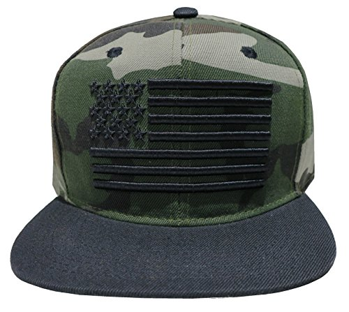 Cap Bill Camo (Leader of Generation Great Cities American Flag Embroidered Flat Bill Snapback Cap Hat (Camo))