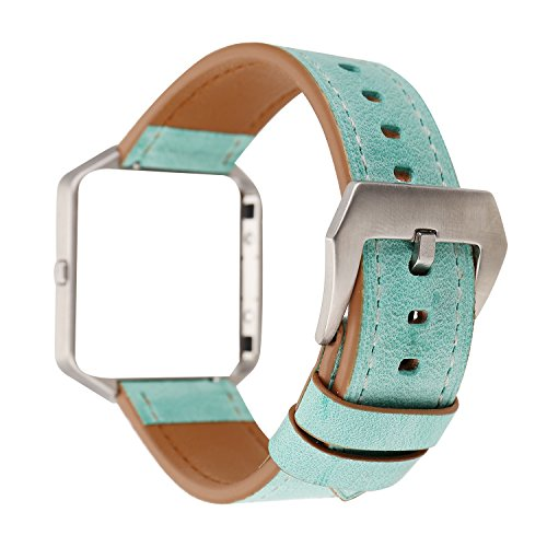WONMILLE for Fitbit Blaze Accessory Band, Fresh Style Replacement Strap Bracelet & Metal Frame Cover for Fitbit Blaze Fitness Watch Band (Grass Green) ()