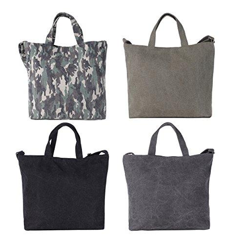 Dondon Sac Cm Parfait Shopper 13 Toile En Et Noir Avec Vintage À 46 Porter Camouflage Anse X Bretelle 32 Canvas rrqdx