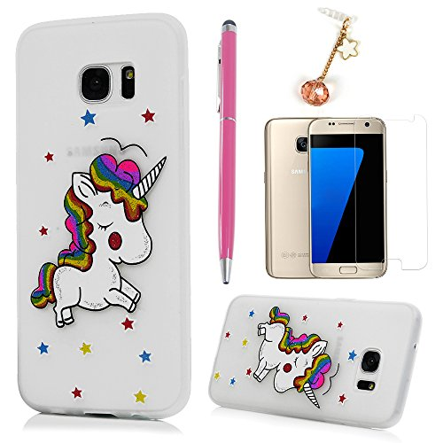 Badalink S7 Edge Case, Fexible TPU Cover Sparkle Unicorn Painting Bumper Shockproof Smooth Skin Impact Resistant Case with Screen Protector & Dust Plug & Stylus for Samsung Galaxy S7 Edge - White (Edges Tpu)
