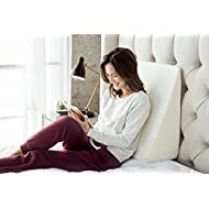 """Brentwood Home Zuma Therapeutic Wedge Pillow, Helps with Sleep & Acid Reflux, 100% Made in USA, CertiPUR-US - Washable Natural Bamboo Cover, 10"""" x 24"""" x 24"""""""