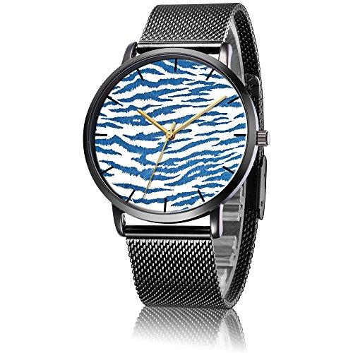 SunbirdsEast Wrist Watch, Zebra Pattern Black Steel Analog Quartz Vogue Watch