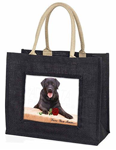 Advanta Lab mit Rose, Love You Mum Große Einkaufstasche Weihnachtsgeschenk Idee, Jute, schwarz, 42x 34,5x 2cm