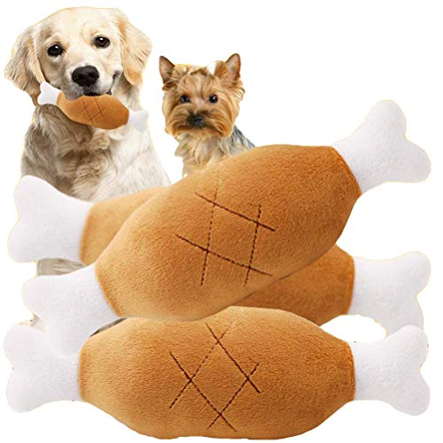 Yu-Xiang 2pack Chicken Leg Plush Toy Pet Squeaker Toy Dog Cat Chewing Toys for Small Medium Large Dog Pets (2Pack)