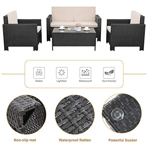 Garden and Outdoor Flamaker 4 Pieces Patio Furniture Set Outdoor Furniture Set Rattan Conversation Sofa Set with Coffee Table for Garden… patio furniture sets