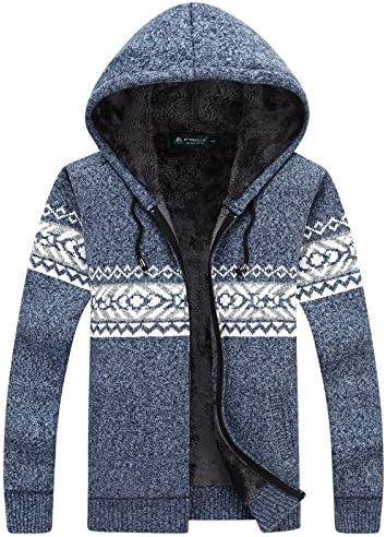 WL-Sweater Hombre de Camisa Abierta en Invierno Incluso Cap Cubra más Gruesa de Terciopelo Grueso suéter de Tejer Lana Gran Placer, código de Color Azul-Gris,M: Amazon.es: Deportes y aire libre