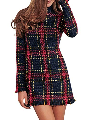 (Miessial Women's Plaid Tweed Mini Dress Long Sleeve Elegant Office Tunic Dress Wine Red 8)