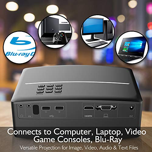 Digital Multimedia Home Theater Projector - HD 1080p Portable Digital Data System Projection w/LED, USB, HDMI Entertainment Video Photo Game Full Cinema Movie in Your Laptop - Pyle by Pyle (Image #3)
