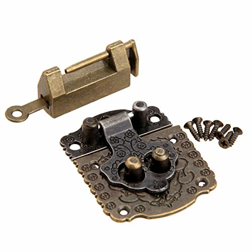 Dophee Antique Cabinet Cupboard Decorative Vintage Case Box Latch Hasp & Lock & Screws