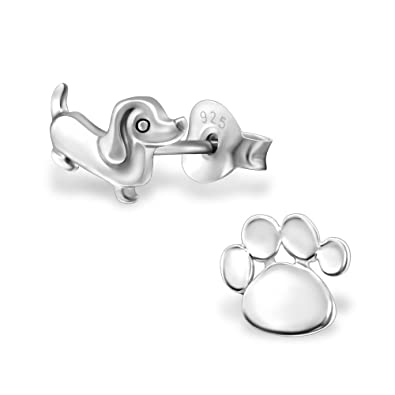 c69603c05 Image Unavailable. Image not available for. Color: 925 Sterling Silver Dog  & Paw Print Stud Earrings 30237