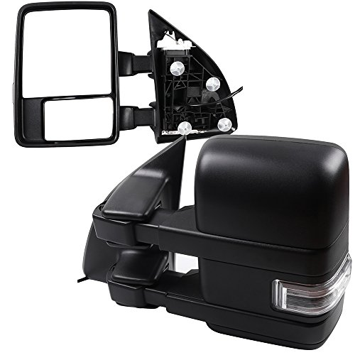 SCITOO fit Ford Super Duty Series Towing Exterior Automotive Mirrors with Turn Signal Black Rear View Mirrors fit Ford F250 Super Duty 2008-2016 with Manual Control Manual Telescoping and Folding