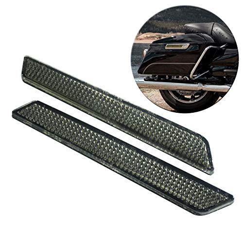 YHMTIVTU Saddle Bag Reflectors Latch Covers Safety Side Visibility Reflecotor kit for Harley Touring 2014-Later,Smoke