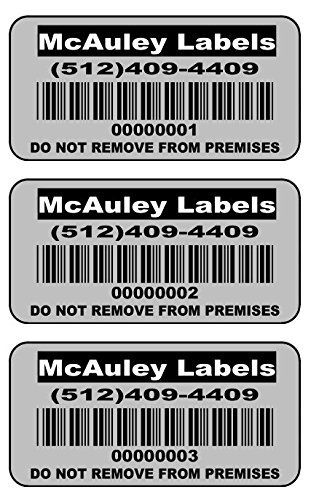 1000 Custom 2x1 Metalized Silver Polyester Asset Tags / Labels Various Quantities ''Featuring Easy Do It Yourself Design'' by LabelsUrWay