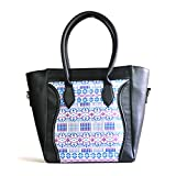 Thelma Davila Designer Handmade Top Handle Leather Handbag :: Handwoven Guatemalan Artisans (Black)