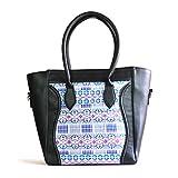 Thelma Davila Designer Handmade Top Handle Leather Handbag Handwoven Guatemalan Artisans (Black)