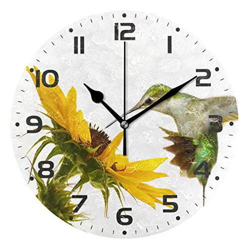 (Naanle Ruby Throated Hummingbird Hovering at Sunflower On White Round/Square/Diamond Acrylic Wall Clock Oil Painting Home Office School Decorative Creative Dual Use Clock Art)
