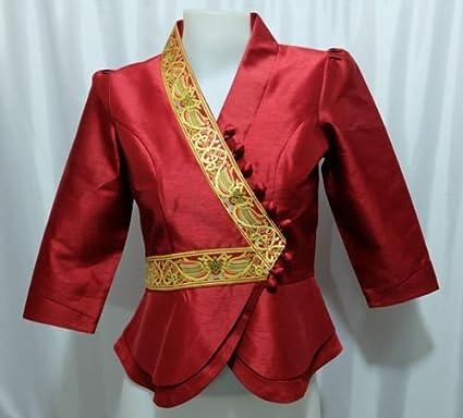 Amazon Com Dark Red Lao Laos Silk 3 4 Sl Button Down Shirt Wrap