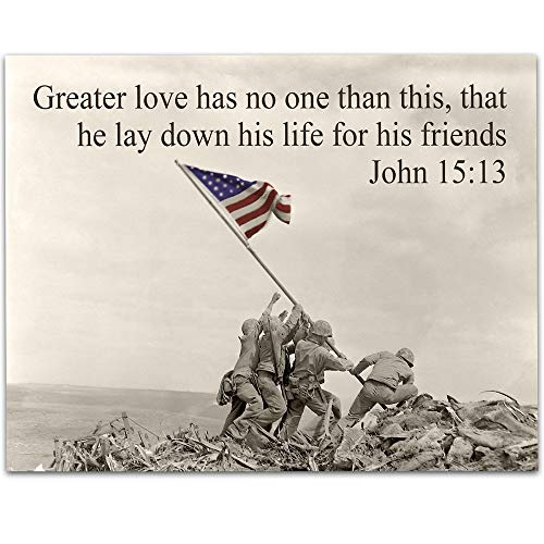 Greater Love - Raising the Flag on Iwo Jima - 11x14 Unframed Art Print - Perfect Gift for Military Families and Patriotic Americans That Still Believe in Our (Flag Raising On Iwo Jima)