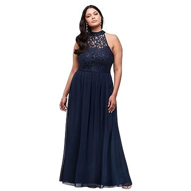 8df9b2c9421 David s Bridal High-Neck Chiffon Plus Size Prom Dress with Ladder Back  Style W35241H232
