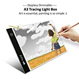 A3 Light Box - Stepless Brightness Control with Memory Function - Elfeland Portable Ultra-thin Light Panel LED Tracing Light Pad Copy Board - USB Power Cable - for Drawing, Sketching, Animation