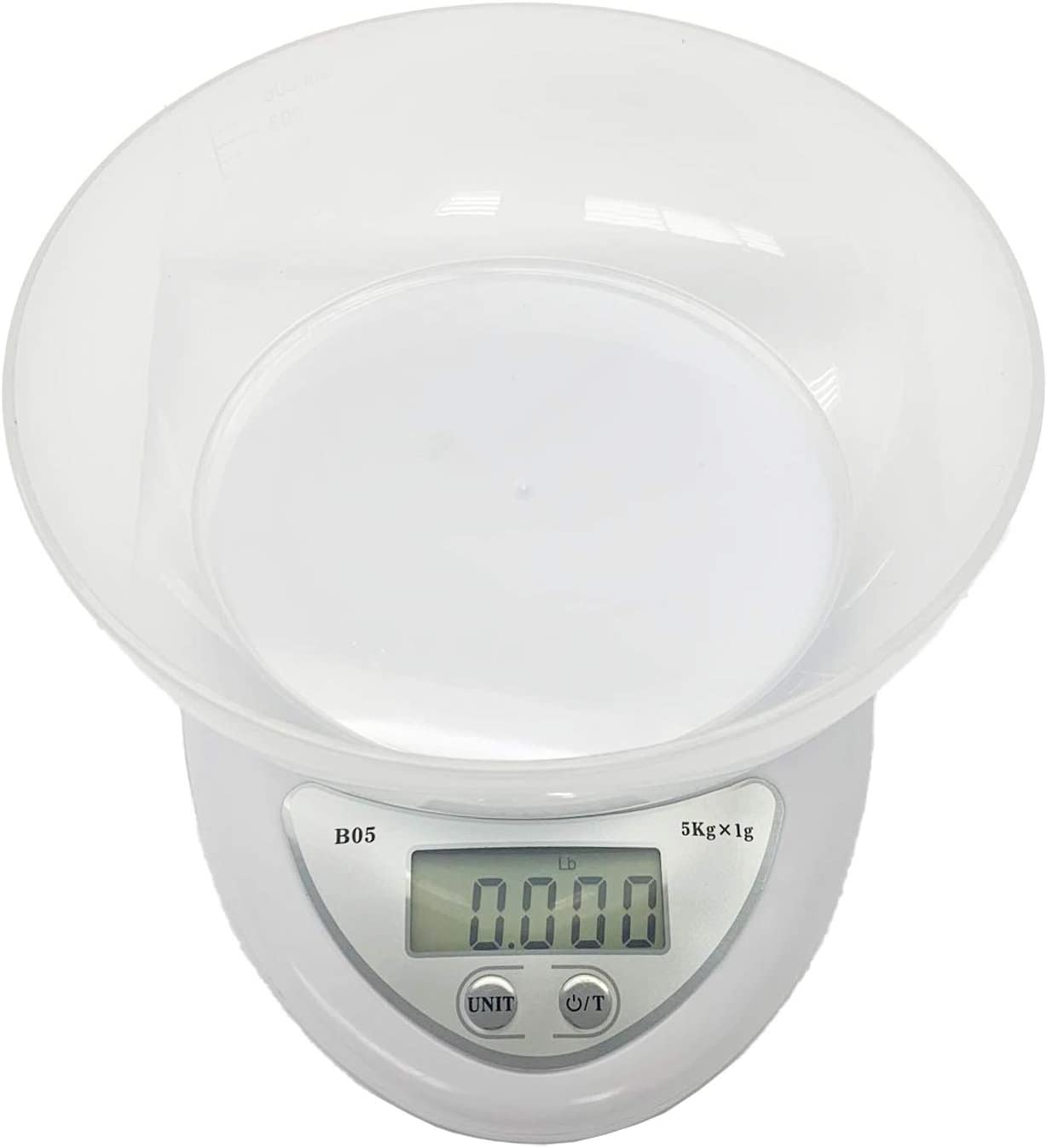 HONGVILLE 5kg/1g Digital LCD Electronic Kitchen Scales Diet Food Compact (Scale with Bowl)