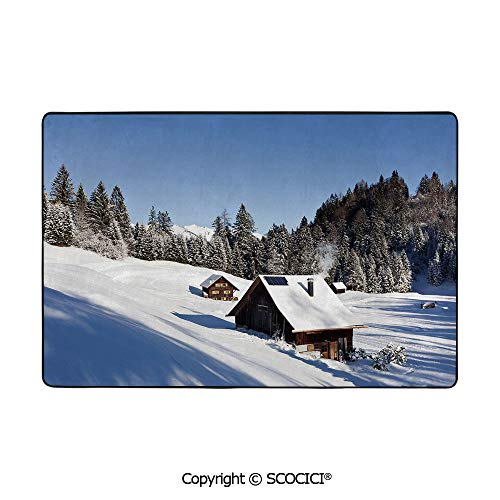 Soft Long Rug Rectangular Area mat for Bedroom Baby Room Decor Rectangle Playhouse Carpets,Winter,Log Cabins in The Mountains Sunny Winter Day Rural Sc,80
