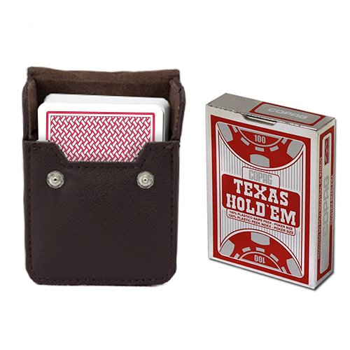 Copag Texas Hold 'Em Red Poker Size Peek Index Single Deck w/Leather Case