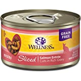 Wellness Complete Health Natural Grain Free Wet Canned Cat Food, Sliced Salmon Entrée, 3-Ounce Can (Pack Of 24)