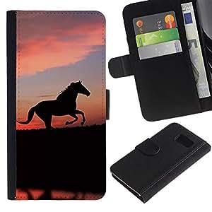 Billetera de Cuero Caso Titular de la tarjeta Carcasa Funda para Samsung Galaxy S6 SM-G920 / cute animals horse / STRONG
