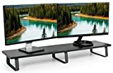 VIVO Black Wood 39'' Wide Extra Long Desktop Stand Ergonomic TV, Dual Monitor Riser and Desk Tabletop Organizer (STAND-V000DL)