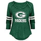NFL Junior Girls Relaxed 3/4 Thermal Top, Green Bay Packers, Hunter, M(7-9)