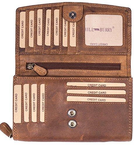 Hill Burry Damen hochwertige Geldbörse | XXL 100% Echtes Leder - Langes Portemonnaie Viel Platz