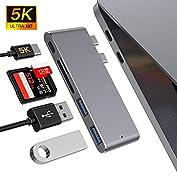 51nQchcczpL. SS177 Haz clic aquí para comprobar si este producto es compatible con tu modelo : Material de aluminio de alta calidad con el mismo color y apariencia que el MacBook. Diseñado para MacBook Air 2018, MacBook Pro 2018/2017/2016 con puerto thunderbolt 3, 2 puertos USB 3.0, lector de tarjetas micro SD / SD .MOKAI START USB 3.0 Hub es el compañero perfecto para tu MacBook Pro para mejorar la productividad. : El puerto Thunderbolt 3 admite suministro de energía de 100 W, salida de video de 5K a 60Hz y hasta 40 Gbps con dispositivos Thunderbolt y hasta 10 Gbps con dispositivos USB 3.1 Gen 2.