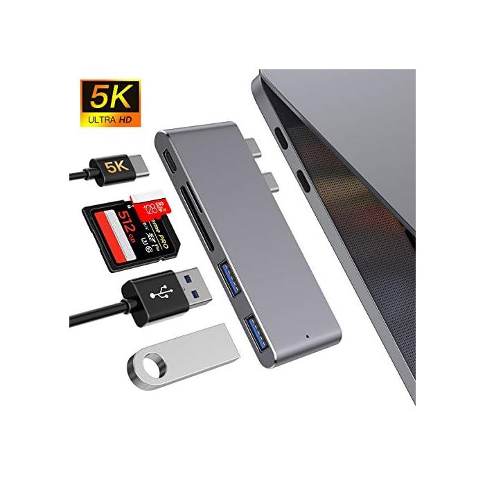 51nQchcczpL Haz clic aquí para comprobar si este producto es compatible con tu modelo : Material de aluminio de alta calidad con el mismo color y apariencia que el MacBook. Diseñado para MacBook Air 2018, MacBook Pro 2018/2017/2016 con puerto thunderbolt 3, 2 puertos USB 3.0, lector de tarjetas micro SD / SD .MOKAI START USB 3.0 Hub es el compañero perfecto para tu MacBook Pro para mejorar la productividad. : El puerto Thunderbolt 3 admite suministro de energía de 100 W, salida de video de 5K a 60Hz y hasta 40 Gbps con dispositivos Thunderbolt y hasta 10 Gbps con dispositivos USB 3.1 Gen 2.